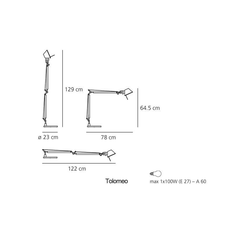 Artemide tolomeo led tavolo con base click luce store - Lampada da tavolo con pinza ...